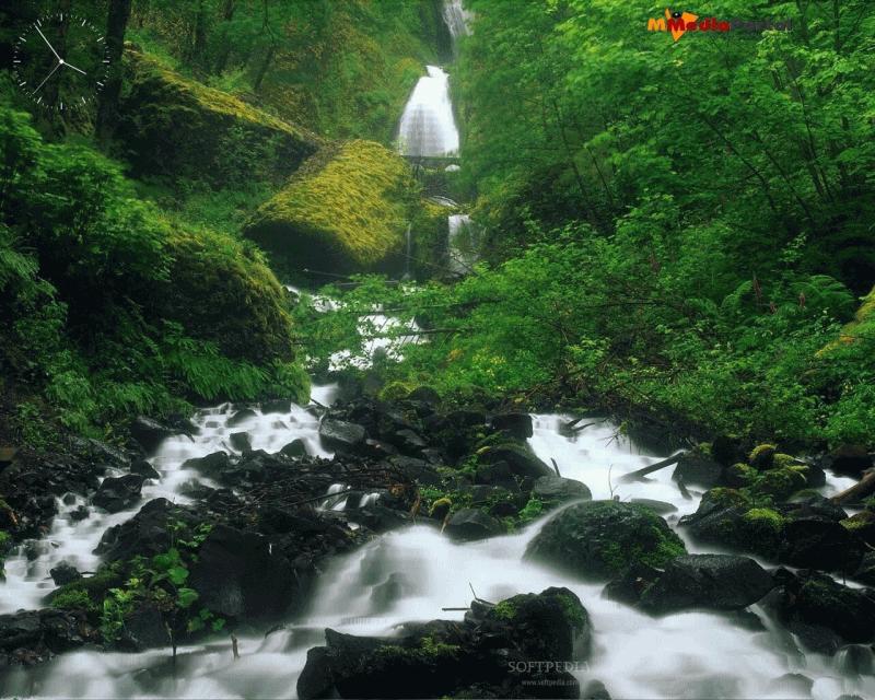 تمتع بتدفق الشلالات والخلفيات الصوتية مع شاشة التوقف الرائعة Steep Falls