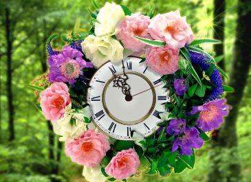 شاشة التوقف الرائعة ساعة إكليل الزهور nfsWreathClock